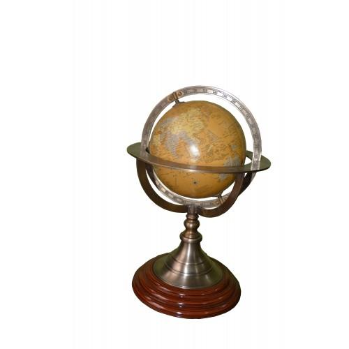 Antique Brass World Map Desk Globe