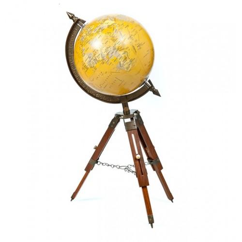 Antique Brass World Map