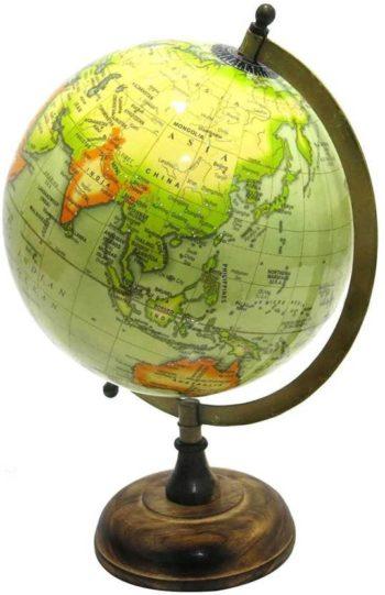 Antique Globe with Brass Arc
