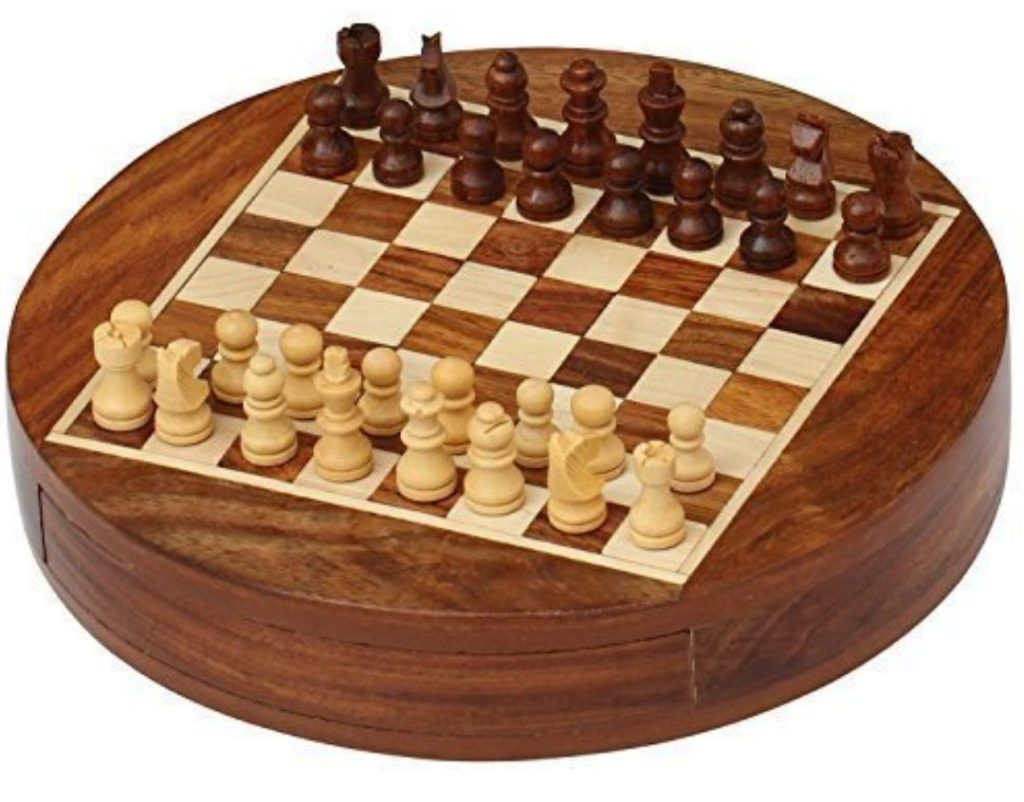 Round Collectible Wooden Drawer Chess Game Board Set