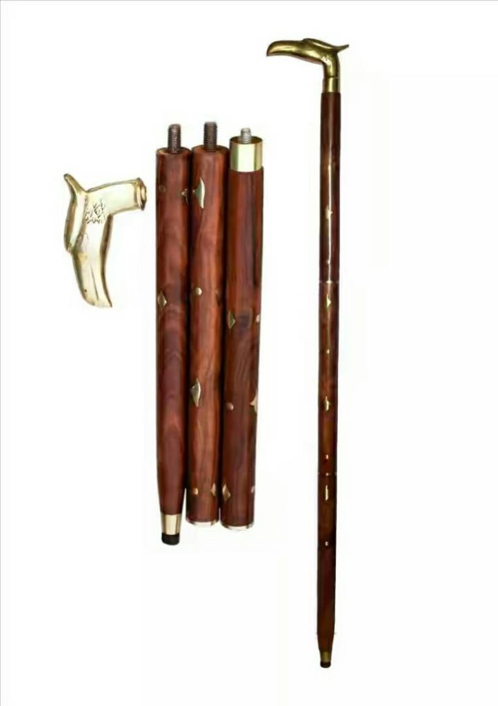 Handcrafted Wooden Stick with Brass Antique Handle