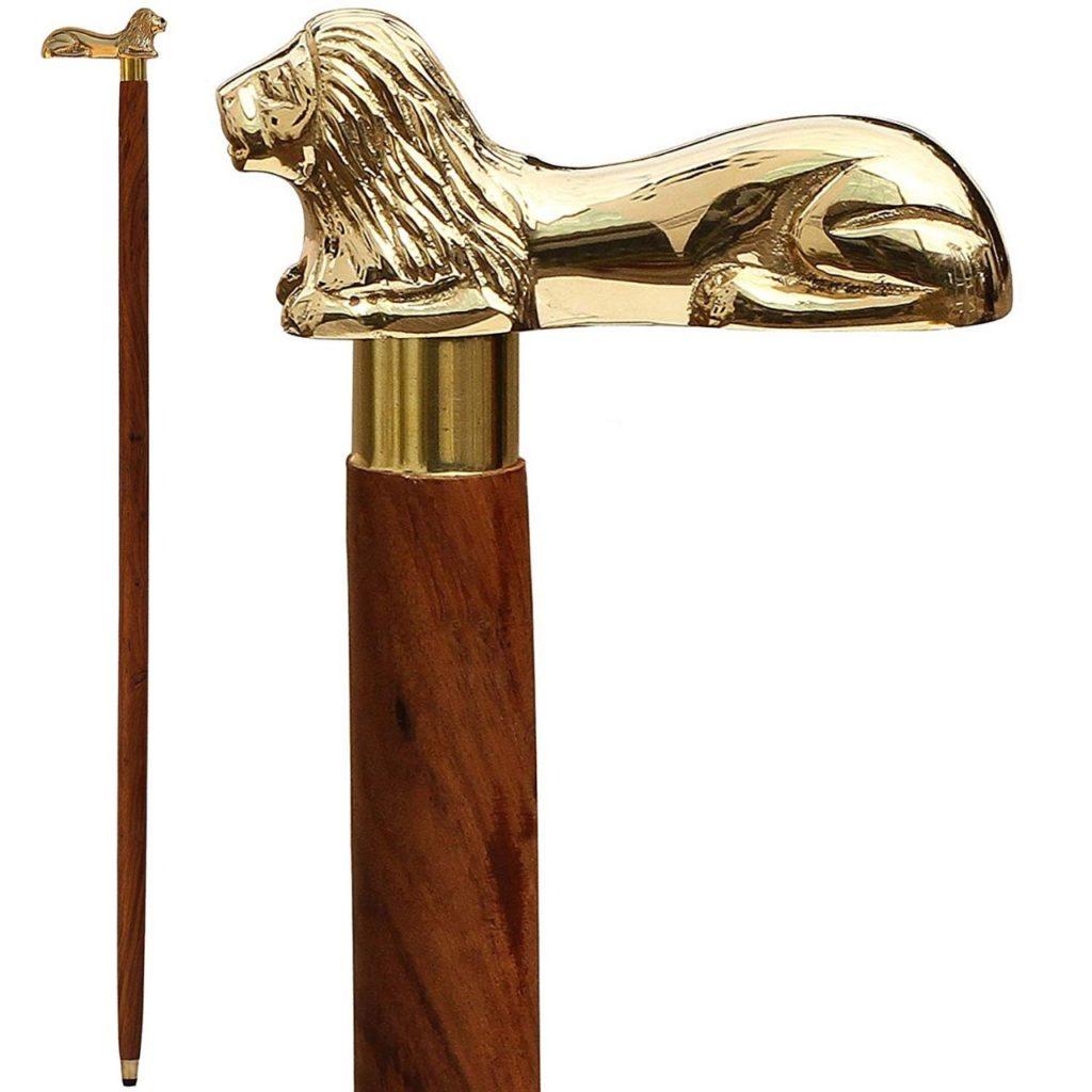 Solid Brass Lion Handle Designer Walking Stick